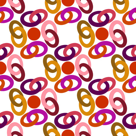 chain links: Abstract vector background seamless pattern of colored chain links.
