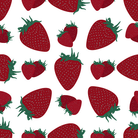 agriculture wallpaper: Background illustration vector seamless pattern red strawberry.