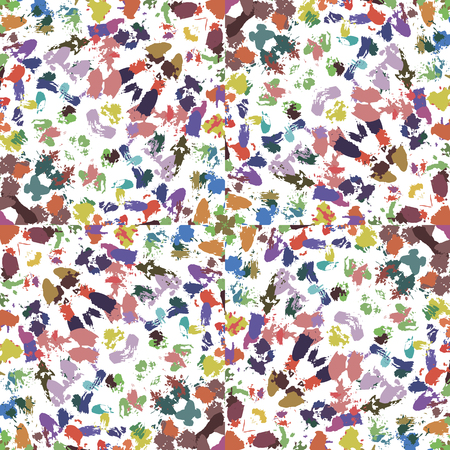 chaotically: Background vector illustration colorful seamless pattern brush strokes paint chaotically.