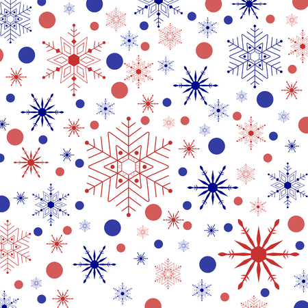temperate: Illustration colored snowflakes and circles on a white background.