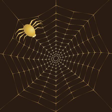 Background vector illustration of a golden spiderweb on a dark background. Ilustração