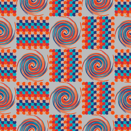 eyestrain: Background illustration seamless pattern of colored circles and tornadoes.