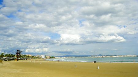 catalunia: overcast sky at the sea. Spain, Catalunia, La Pineda.