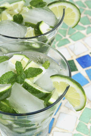 icecubes: Mojito cocktail - rum, lime, mint and ice