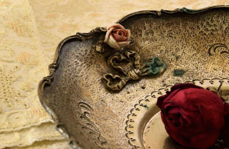 seder: Part of an antique plate with a rose inside Stock Photo