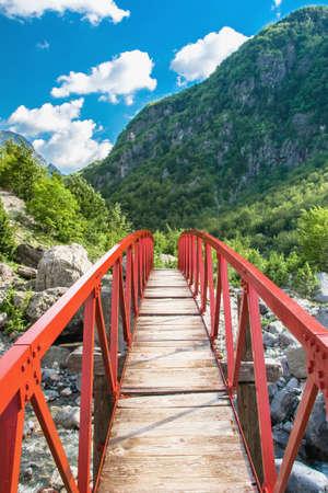 Red bridge in the mountain Stock Photo