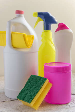 Set of household cleaning products. Spring cleaning concept