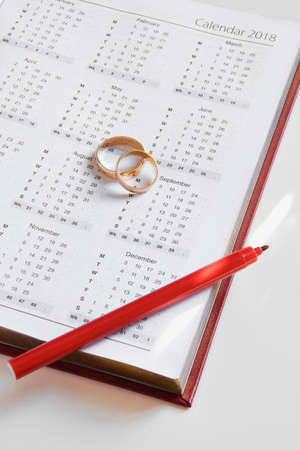 Planning a wedding in 2018. Top view of 2018 personal organizer and two wedding rings on white background with space for text. New life concept