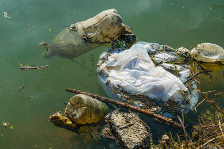 Plastic pollution in water. Ecological industry concept