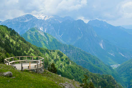 Scenic paradisiac landscape view of Albanian Alps mountains. Traveling, exploring, holiday concept Stockfoto