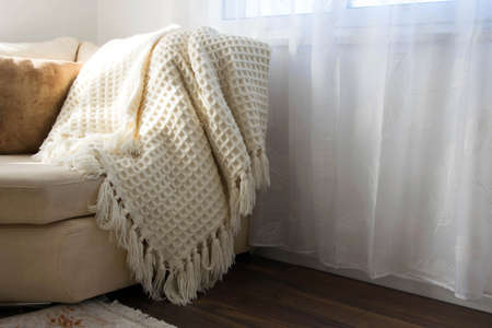 Stylish brightly interior of living room. Inviting comfortable sofa with handmade woolen blanket. Comfortable place for reading or relaxing in Scandinavian style