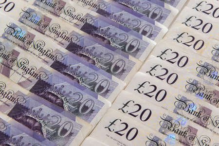 Closed up of pound sterling banknotes. United Kingdom currency Stock Photo