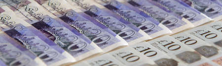 Closed up of pound sterling banknotes. United Kingdom currency 스톡 콘텐츠