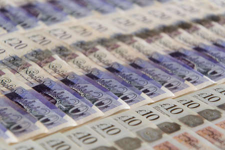 Closed up of pound sterling banknotes. United Kingdom currency Stock fotó