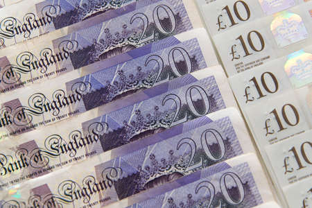 Closed up of pound sterling banknotes. United Kingdom currency