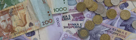 Close up of Albanian LEK. Albania national currency