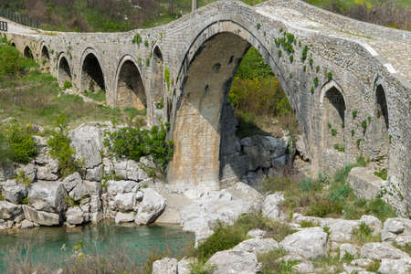 Old stone bridge over the river. Albania, Mes, Scutari