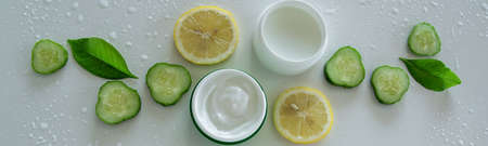 Top view of natural organic cosmetic products. Healthy skin care treatment 写真素材