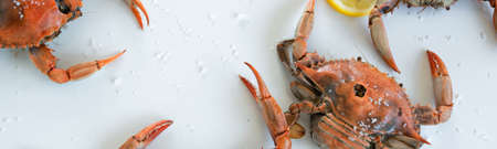 Cooked red crabs, delicious healthy seafood