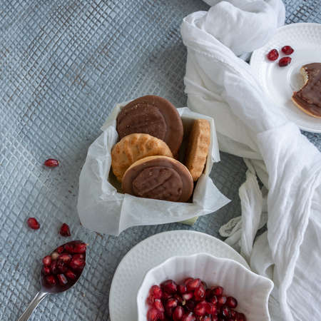 Tasty homemade biscuits with chocolate and pomegranate Banco de Imagens