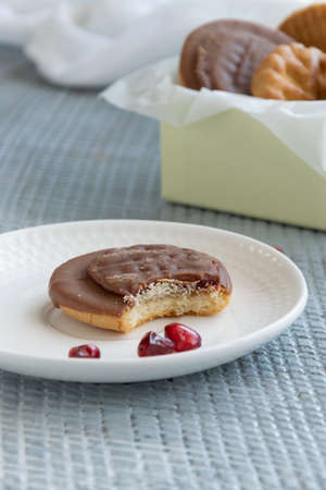 Tasty homemade biscuits with chocolate and pomegranate Banco de Imagens - 133078733