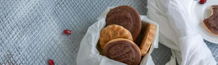 Tasty homemade biscuits with chocolate and pomegranate Banco de Imagens - 133079196