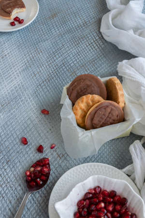 Tasty homemade biscuits with chocolate and pomegranate Banco de Imagens - 133079890
