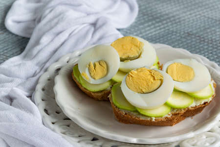 Healthy homemade sandwiches with vegetables and hard-boiled eggs Stock fotó