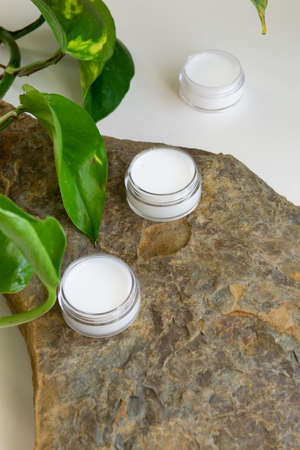 Organic body/face creams, natural wellness beauty products Stock Photo