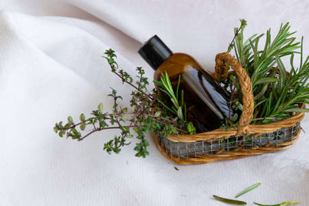 Herbal essential oil, alternative beauty treatment, organic body and face care Banco de Imagens