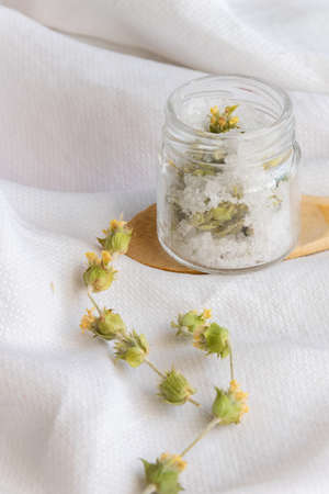 Hygiene bath salt with wild herbs. Wellness therapy regeneration Banco de Imagens