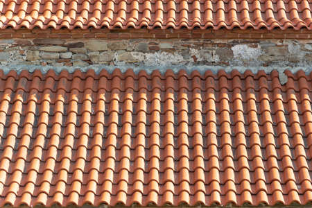 Crop view of tiled roof, pattern