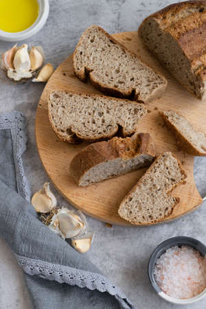 Whole oat sliced bread. Healthy eating concept