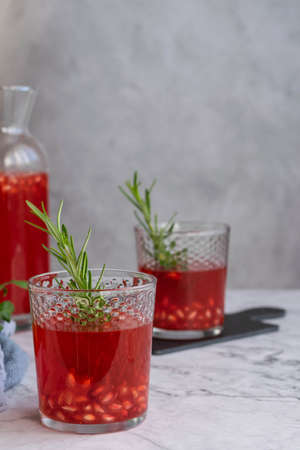 Homemade pomegranate juice, healthy refreshing drink