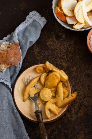 Ready to eat cooked mushrooms (amanita caesarea) on table