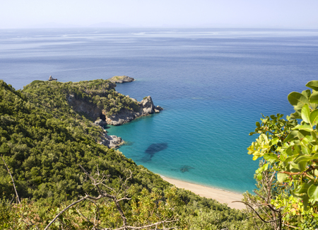 Beautiful view of the Aegean Sea, forest and mountains on the island of Evia, Greece on a sunny day Banco de Imagens