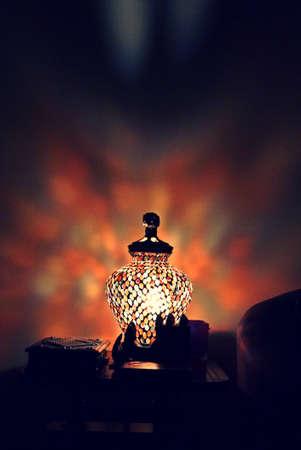 lampshade: colorful lampshade at night Stock Photo