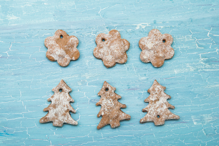 powdery: Christmas cookies on a blue background with cracks Stock Photo