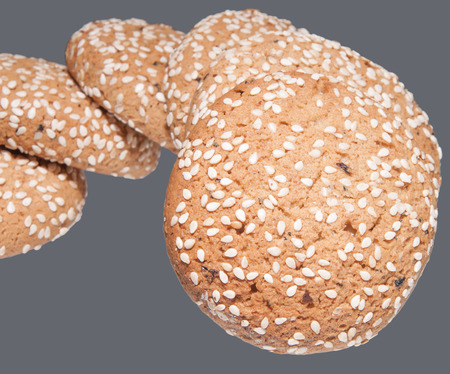 oatmeal cookies: oatmeal cookies isolated on a gray background Stock Photo