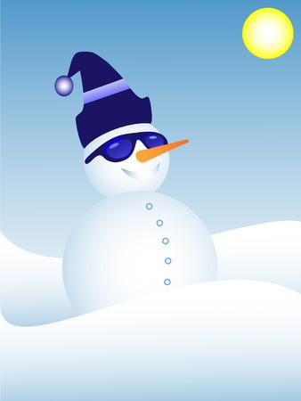 Cool snowman wearing sunglasses Vector
