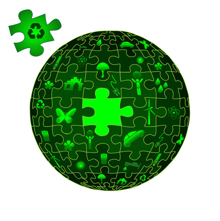puzzle globe: Eco Earth in puzzle pieces with eco icons Illustration
