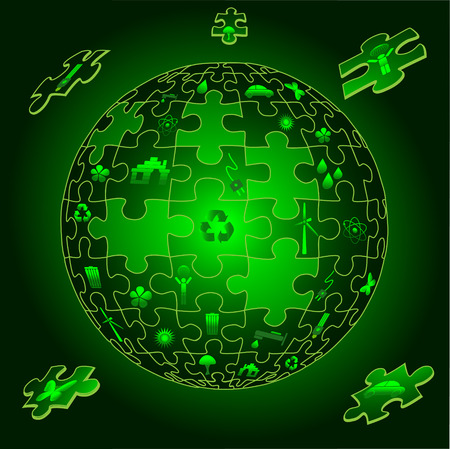 Eco earth with flying puzzle pieces with eco icons