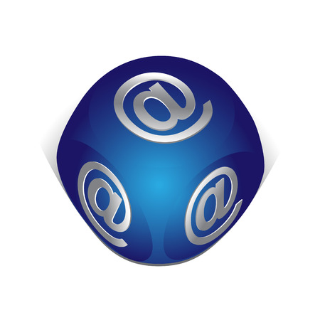Cube with email icon Vector