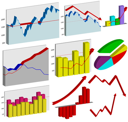 stock market chart: Set of 3d business graphs