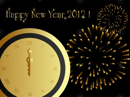 2012 card with midnight clock, eps8 Vector