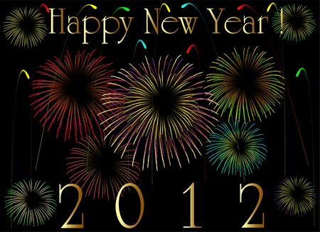 2012 card with fireworks, eps8 Vector