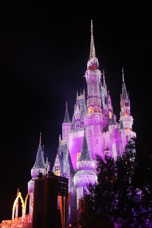 Orlando, Florida, USA, 23 Dec 2011, Disney world, Cinderella Castle sparkling in Christmas lights.