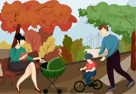 The family is resting in the park. A girl with a stroller reads a book. Father teaches his son to ride a bike. Young mother with child and book