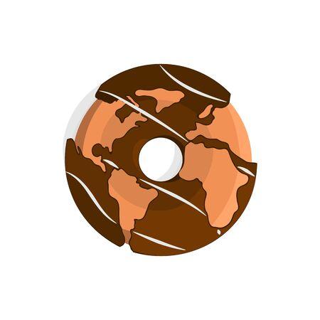 世界地図チョコレート ドーナツのベクトル イラスト 写真素材 - 79061068