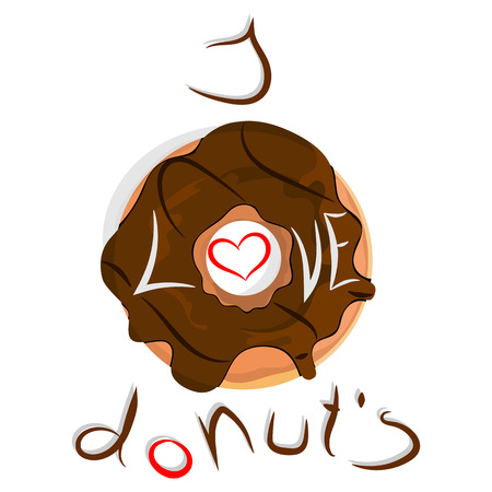 Vector illustration of chocolate donut with heart
